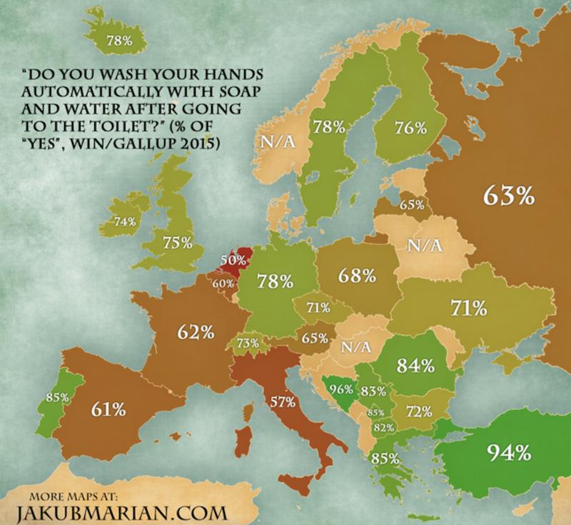 Você lava as mãos ao sair do banheiro? Veja o que revela pesquisa sobre esse hábito na Europa