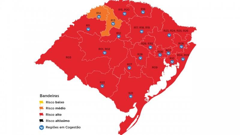 Rio Grande do Sul quase todo em vermelho